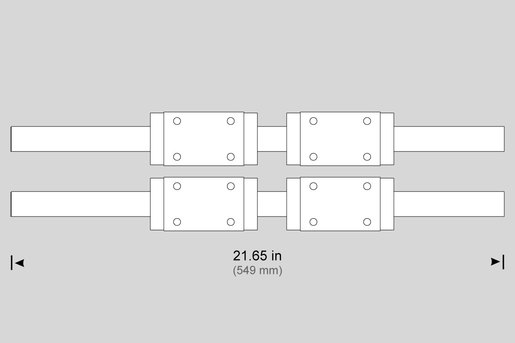 LINEAR GUIDE, 30MM X 550MM  W/ COVER STRIP (PAIR) (X) TL-1